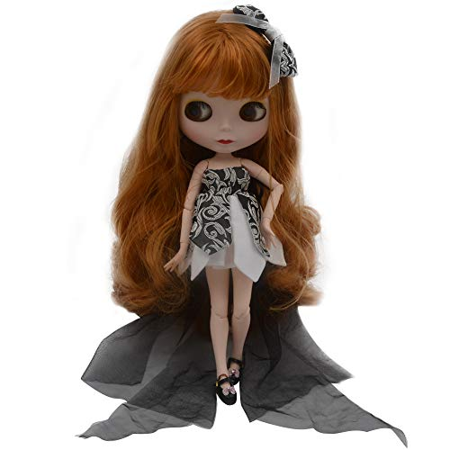 lar to Neo Blythe, 4-Color Changing Eyes Matte Face and Ball Jointed Body Dolls, 12 Inch Customized Dolls Can Changed Makeup and Dress DIY, Nude Doll Sold Exclude Clothes (Brown1) ()