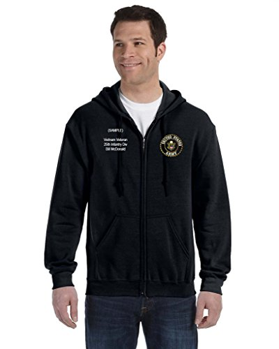 Embroidered Zip Hoodie (US Army Personalized Custom Embroidered Full Zip Hooded Sweatshirt - Black)