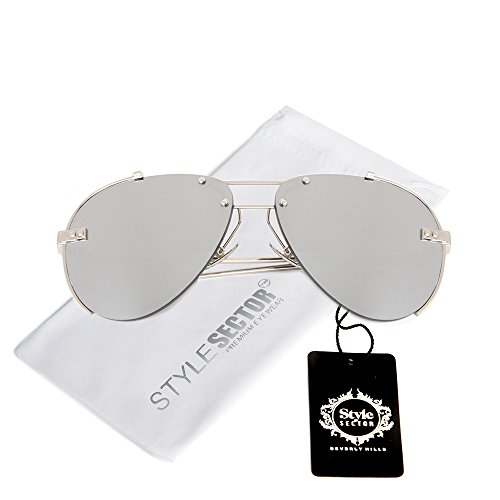WIRE-FRAMED MIRROR AVIATOR SUNGLASSES IN SILVER-TONE WITH A BROW BAR - Glasses Avaiator