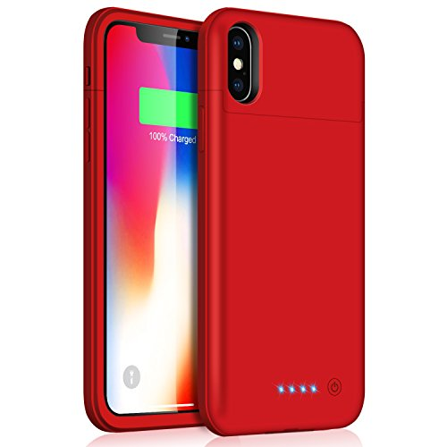 Battery Case for iPhone X/Xs, Feob 5200mAh Rechargeable Portable Power Charging Case for iPhone X/Xs(5.8 inch) Extended Battery Pack Protective Charger Case Ultra Thin (Red)