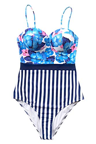- CUPSHE Women's Blue Hibiscus and Stripe Print One Piece Swimsuit, S