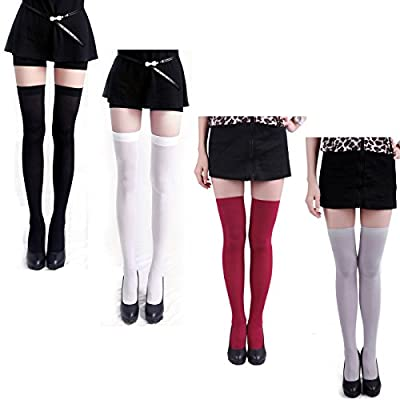 HDE Women's 4-Pack of Solid Color Opaque Sexy Thigh High Stockings Socks