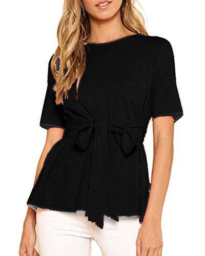 AELSON Women's Short Sleeve T-Shirts Tie Waist Knot Casual Blouses Tops Black