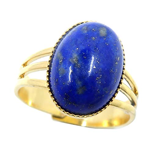 (Lapis Ring Boutique Genuine Blue Oval Gemstone Adjustable Metal Crystal Healing B02 (Gold 14x10))