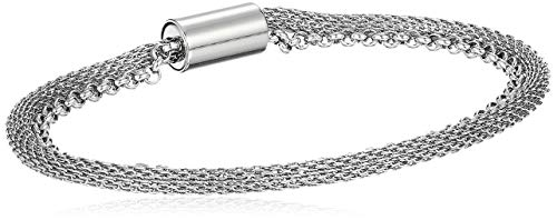 Stainless Bracelet Steel Fossil Womens (Fossil Women's Double-Strand Mesh and Stainless Steel Bracelet, Silver, One Size)