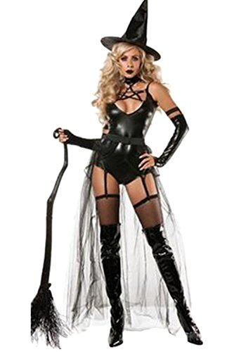 Sexy Masquerade Outfits (Women Sorceress Magic Witch Cosplay Outfit Custome Rompers Jumpsuit With Hat Masquerade For Halloween Black One Size)