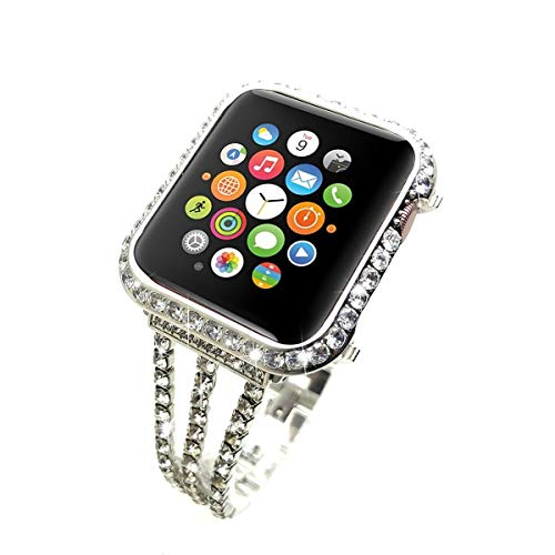 (LUXSUISH Brilliant Shine Bling-Bling Set Diamond Watch Bezel Case + Stainless Steel Diamond Watch Band Handcrafted Compatible with Newest Apple Watch Series 4 40mm (Platinum with Diamond))