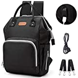Diaper Bag Backpack, hopopower Multifunction Travel Backpack with USB Charging Port Insulated Pockets