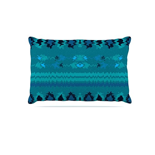 Kess InHouse Nina May Turquoise Nava  Fleece Dog Bed, 50 by 60 , Teal Tribal