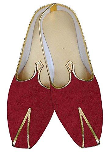 INMONARCH Mens Red Velvet Wedding Shoes MJ015368 3cA7GA8