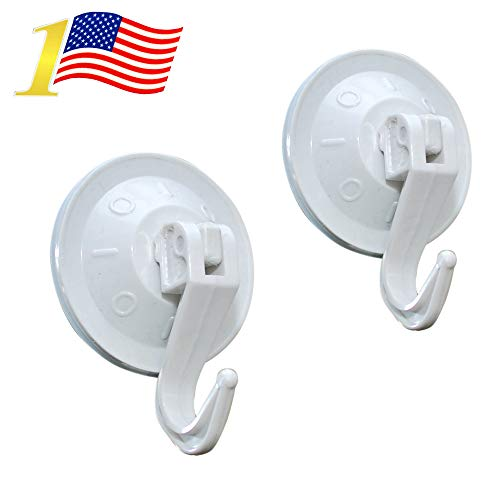Super Powerful Vacuum Suction Hooks - Damage Free (No Drilling, No Screws, No Holes, No Glue) - Perfect for Hanging Your Bags, Cloths, Towels, Kitchen Tools, Bathroom Accessories (2-PACK)