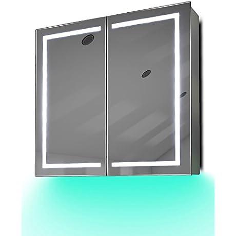 Demist Bathroom Mirror Cabinet With LED Under Lighting Sensor Internal Shaver K362t
