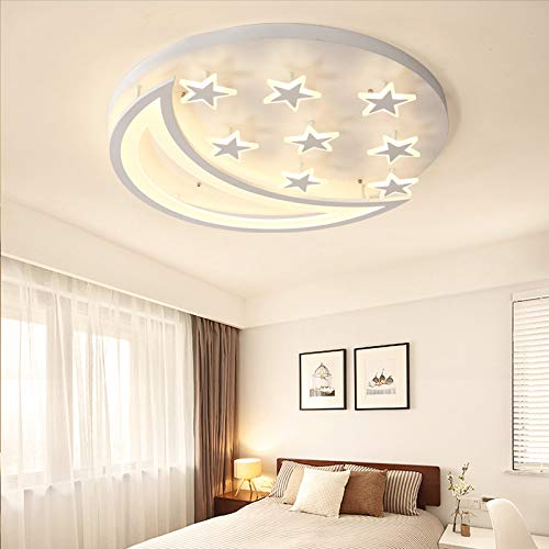 Creative LED Flush Mount Ceiling Light, JIANGXIN Acrylic Chandeliers Moon Star Shape Lighting for Living Room Bedroom Kids Room (Color: Warm Light, Size: 40X40X8cm)