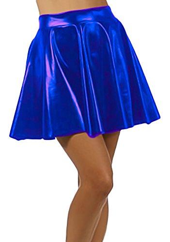 Marvoll Women's Club Metallic Shiny Skirt Circle Liquid Mini Wet Look (Kids Large, Blue)