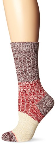 Stance Women's Winter Camp Mid-Boot Crew Sock, Port Wine, One Size
