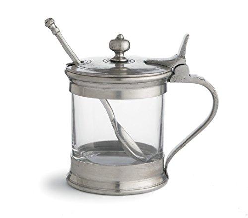 Arte Italica Tavola Jam Jar with Spoon, Pewter