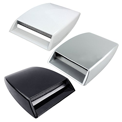 OULII Car Hood Scoop Air Flow Intake Turbo Bonnet Hood Vent Grille Cover (White)