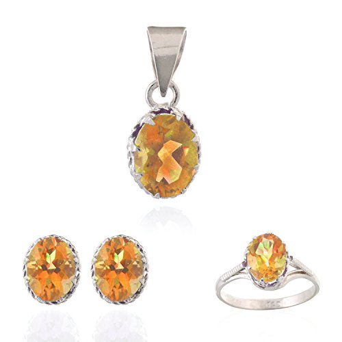 Neerupam Collection Contemporary Golden-Yellow Citrine Real Gemstones Rhodium Plated Sterling Silver Earring, Ring & Pendant Set for Women ()