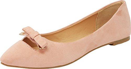 (Cambridge Select Women's Closed Pointed Toe Slip-On Bow Cutout Ballet Flat (7.5 B(M) US, Blush IMSU))
