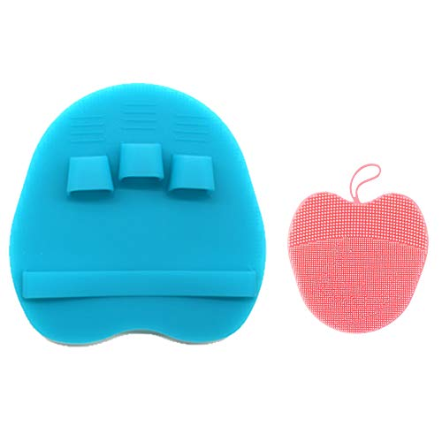 INNERNEED Soft Silicone Face Brush Cleanser Manual Facial Cleansing Scrubber, with Silicone Body Brush Shower Scrubber (Blue+Pink)