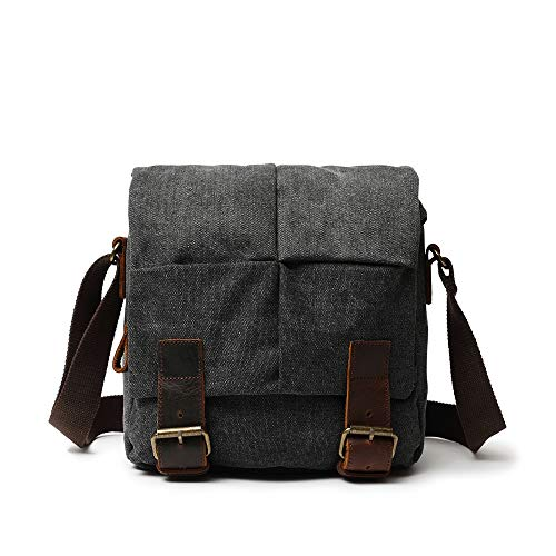 Zg Vintage Leather Canvas Small Messenger Bags