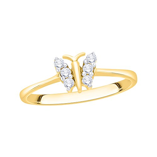 KATARINA Diamond Butterfly Ring in 14K Yellow Gold (1/6 cttw, I-J, I1) (Size-11.5)