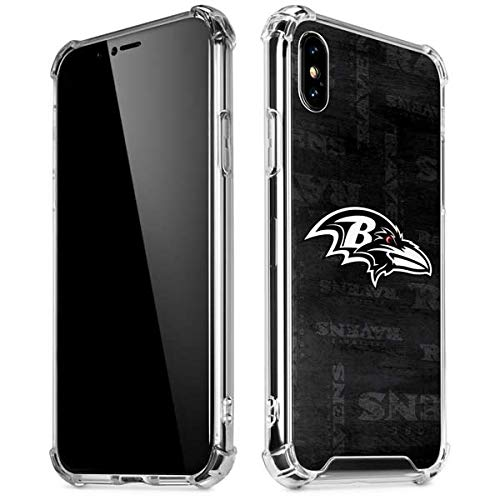 Skinit Baltimore Ravens Black & White iPhone Xs Max Clear Case - Officially Licensed NFL Phone Case Clear - Transparent iPhone Xs Max Cover