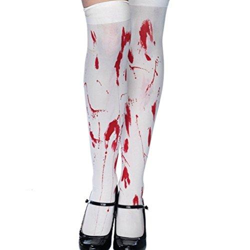 Enfei Women's Halloween Bloody Over The Knee Socks