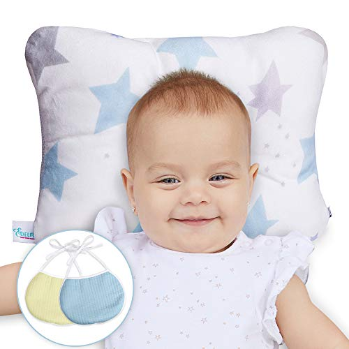 Newborn Baby Head Shaping Pillow - Washable, Neck Support for Infant Preventing Flat Head Syndrome - 2 Baby Bibs and Parenting Ebook Included (White)