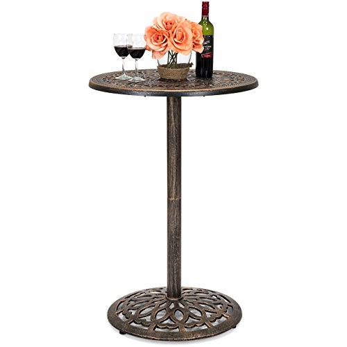 (Best Choice Products Outdoor Bar Height European Style Cast Aluminum Round Bistro Table for Backyard, Patio, Poolside - Copper)