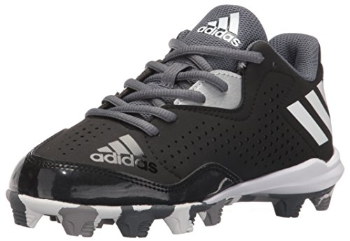 adidas Performance Kids' Wheelhouse 4 K Baseball Cleat, Black/White/Silver Metallic, 2 M US Little Kid