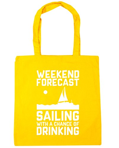 litres 42cm Shopping Gym Sailing of Chance Beach Forecast Drinking With Bag Tote Yellow HippoWarehouse a Weekend x38cm 10 OqHAHaw