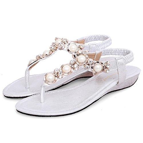 SUNAVY Damen Strass Schuhe Knöchelriemen,2017 Neu Bling Beaded T-Strap Sandalen niedrige-heel Sommer Strand Schuhe Flip Flops,Rosa