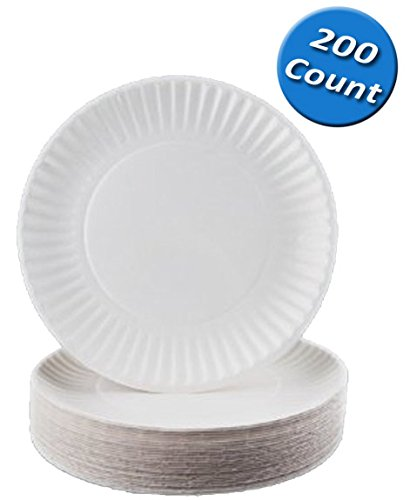 Nicole Home Collection 200 Count Everyday Dinnerware Paper Plate, 9-Inch, White