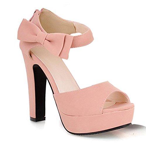 Maybest Womens Peep Toe Platform Chunky Heel Bowknot Ankle Strap Sandals Pink 11 B  M  Us