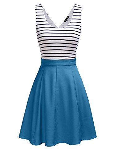 OMY OMEYA.WANSHIDA. Women's Crisscross backside Sleevless Slim Cocktail Striped Casual Cute Mini Dress (S, Sky Blue) (Mini Striped Blue)
