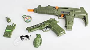 Army Add On Toy Gun Kit Includes: Full Size Camo Green Color Friction UZI, Combat Force M9 Style Pistol with Firing Sounds, Compass, Grenades, Dog Tag, Toy Walkie Talkie, and Whistle