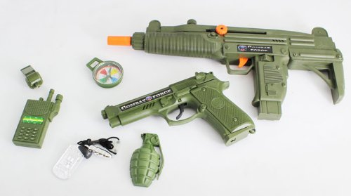 Army Add On Toy Gun Kit Includes: Full Size Camo Green Color Friction UZI, Combat Force M9 Style Pistol with Firing Sounds, Compass, Grenades, Dog Tag, Toy Walkie Talkie, and (Toy Uzi)