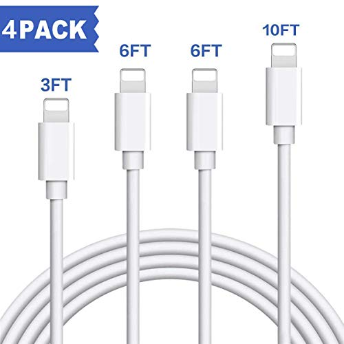 TrimDish iPhone Charger Cable, MFi Certified 4 Pack 3FT 6FT 6FT 9FT Charger Cord Charging Cable Charger Compatible with iPhone Xs MAX XR X 8 8 Plus 7 7 Plus 6s 6s Plus 6 6 Plus and More