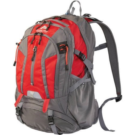 36L Kachemak Daypack Hiking Backpack, Red (Buckle Belt Coin Cut)