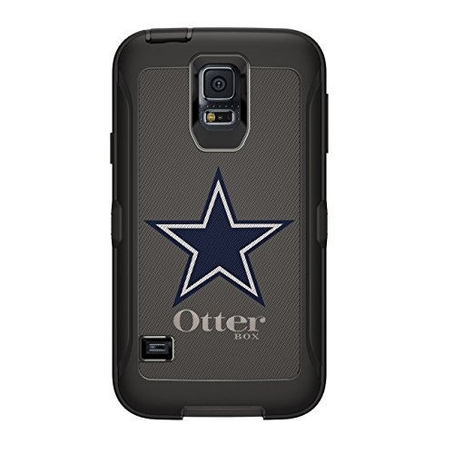 (DistinctInk Case for Galaxy S5 - Custom Black OtterBox Defender - Dallas Star Grey Navy - Football Team)