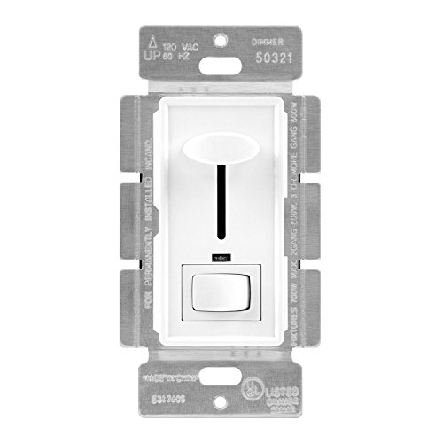 ENERLITES Decorator Slide Dimmer Switch, LED Indicator Light, On/Off Rocker, Single-Pole or 3-Way, ONLY for Incandescent and Halogen, 120V 700W 60Hz, UL Listed, 50321-W, White