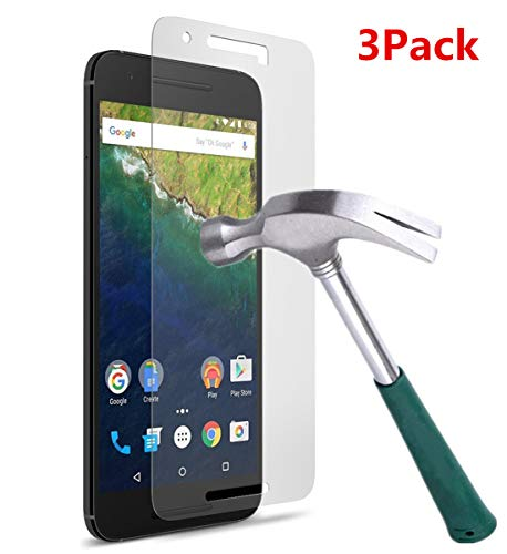 TANTEK Nexus 6P Screen Protector, [Bubble-Free][HD-Clear][Anti-Scratch][Anti-Glare][Anti-Fingerprint] Premium Tempered Glass Screen Protector for Huawei (Google) Nexus 6P,-[3Pack] (Google Nexus 9 Screen Protector)