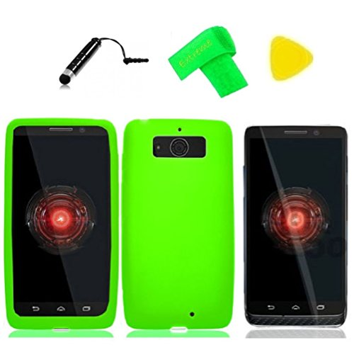 Silicone Gel Skin Cover Phone Case + Screen Protector + Extreme Band + Stylus Pen + Pry Tool For Motorola DROID Mini XT1030 XT-1030 Obake Mini (Silicone Green)