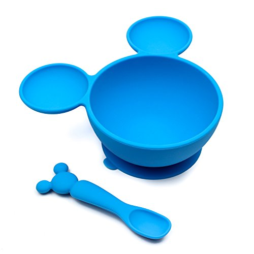 Bumkins Disney Mickey Mouse Suction Silicone Baby Feeding Set, Bowl, Lid, Spoon, BPA-Free, First Feeding, Baby Led Weaning Disney Gourmet Mickey Mouse