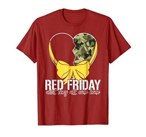 - red Friday until they all come home camo heart t shirt