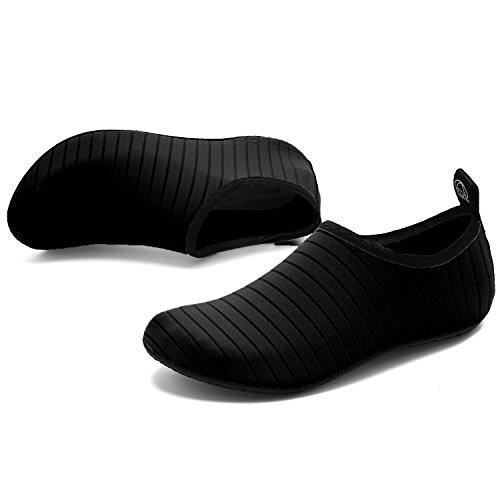 VIFUUR Water Sports Shoes Barefoot Quick-Dry Aqua Yoga Socks Slip-on for Men Women Kids Black-44/45 by VIFUUR (Image #2)