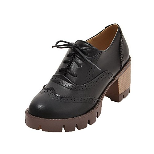 toe Lacci Round Allhqfashion Tacchi Pompe Nero Con Alti Scacchi shoes Delle Donne A w50qEt