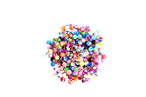 (HuayoRong 100Pcs 14G Assorted Belly Button Rings Body Piercing Jewelry (Surgical Steel 100 Pieces))