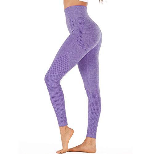 Women High Waist Yoga Leggings Seamless Ultra Stretch Gym Workout Pants (Purple, Large)